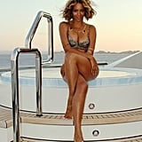 She posed near her onboard hot tub in this sexy shot from September 2014.