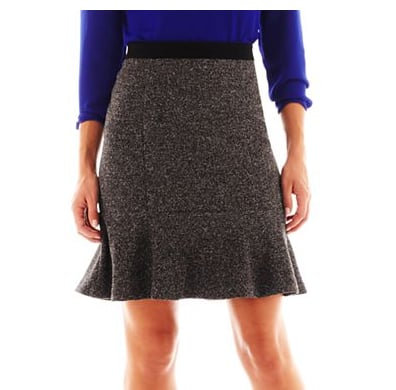 For its figure-flattering shape alone, we're loving this Liz Claiborne tweed and ponte knit trumpet skirt ($40).