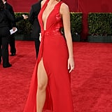 Wearing a Versace dress, Lorraine Schwartz jewels, and Christian Louboutin shoes to the 2009 Emmy Awards.