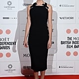 Sweet bows with pearl detailing added a lovely touch to Felicity Jones's LBD at the British Independent Film Awards.