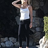 Kate Hudson wore tight black pants on the set of Wish I Was Here in LA.