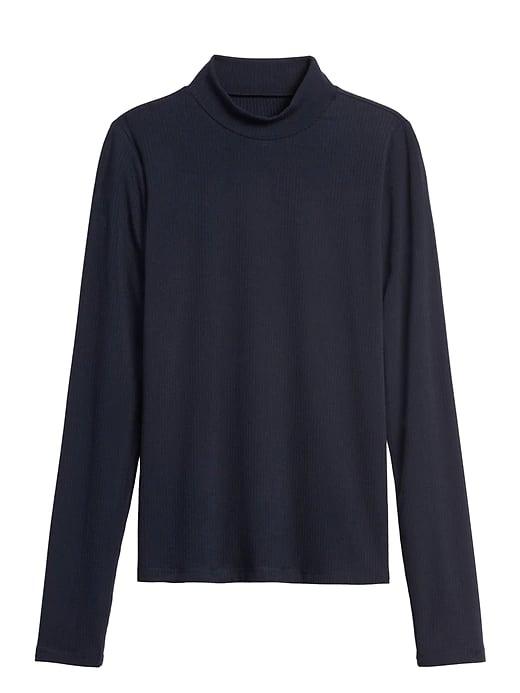 Ribbed Mock-Neck T-Shirt