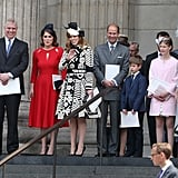 With members of the royal family at the National Service of Thanksgiving on the queen's 90th birthday in 2016.