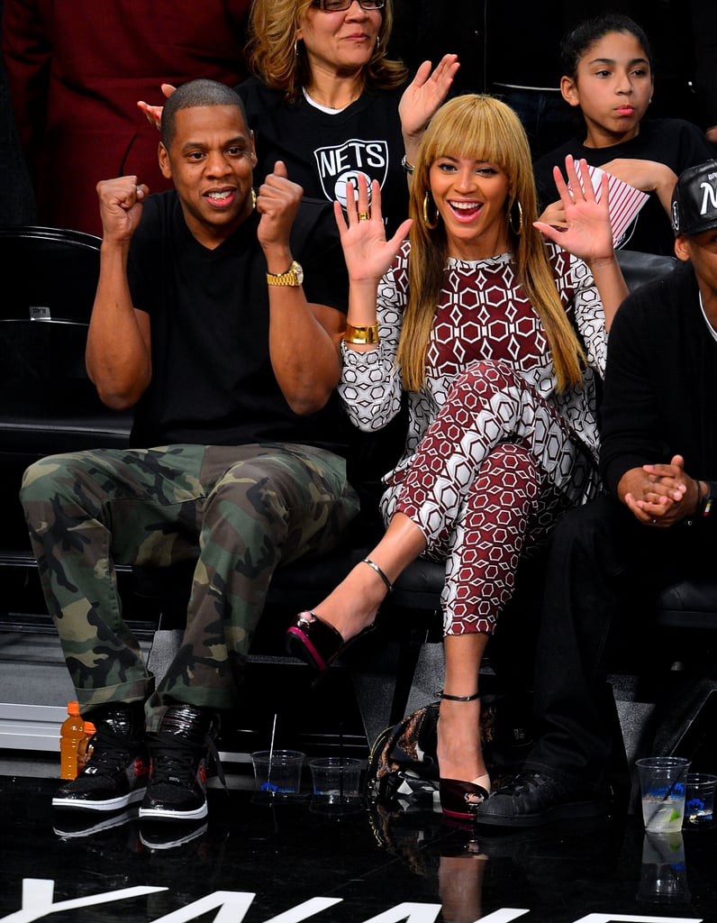 Jay-Z and Beyoncé cheered on the Brooklyn Nets at a November 2012 game against the Toronto Raptors.