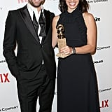 Joshua Jackson and The Affair writer and producer Sarah Treem were all smiles at the Netflix soiree.