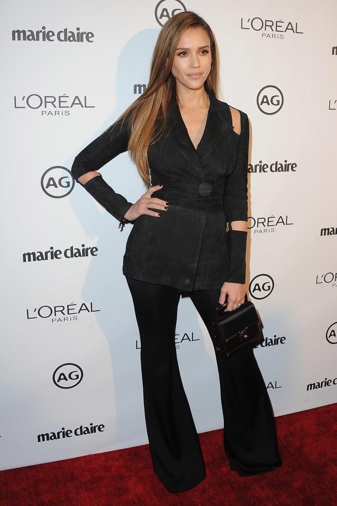 Jessica Alba's Cutout Blazer January 2017
