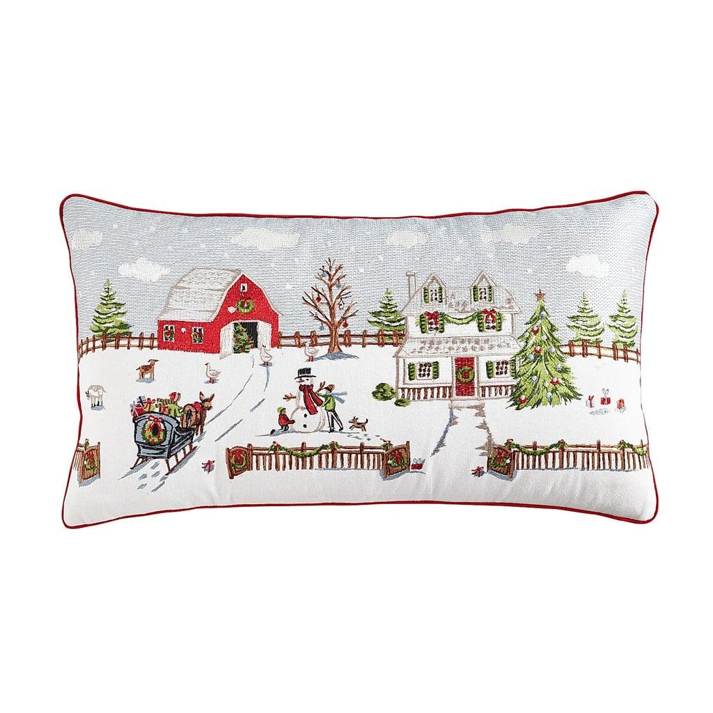 Holiday Farmhouse Scene Pillow