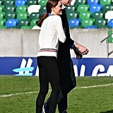 February: Kate and Will participated in a friendly game of soccer.