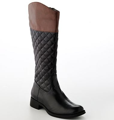 These Apt. 9 two-toned quilted boots ($40, originally $100) are great for running errands on the weekends. Sport them with black leggings and a knit cardigan.