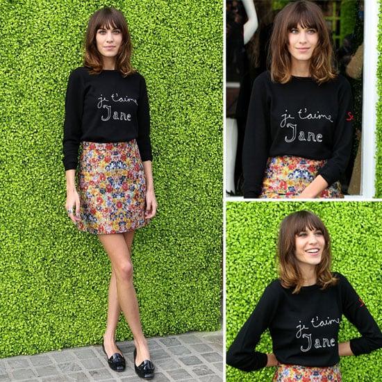 We Want Alexa Chung'sJe T'aime Jane Sweater! Shop Her Sweet Slogan Knit Style Online