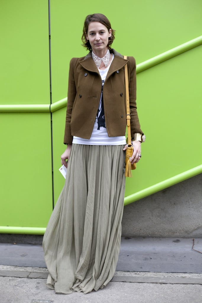 Add structure to soft pleats with a military style jacket.