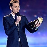 The Avengers star Tom Hiddleston thanked his dog after winning the award for best villain.