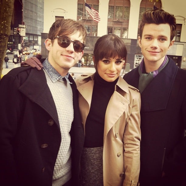 Lea and Chris Colfer were visited by Kevin McHale while shooting Glee on location in NYC in November 2012. Source: Instagram user msleamichele