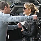 Blond Kate Beckinsale Travels in Shearling Style