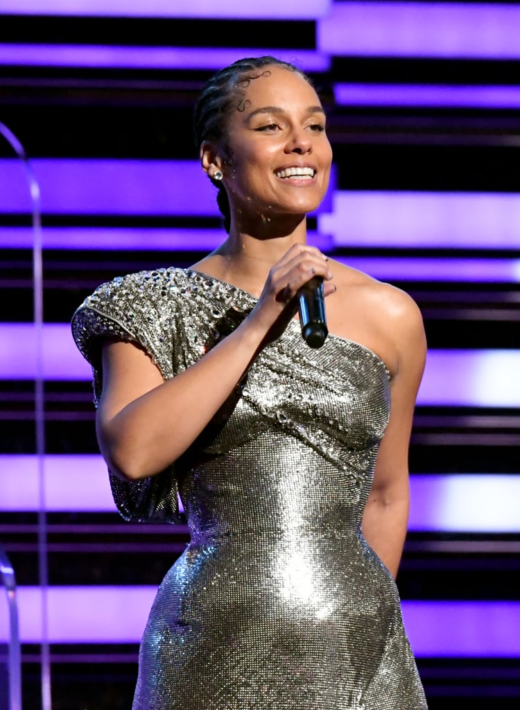 Alicia Keys's Rhinestone Baby Hairs at the 2020 Grammys