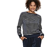 POPSUGAR Striped Velour Top