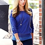 Scarlett Johansson was a vision in blue on the set of Don Jon's Addiction in New Jersey.