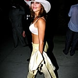 Rocking a cowboy hat and bared midriff at the 1998 MTV VMA Maverick party.