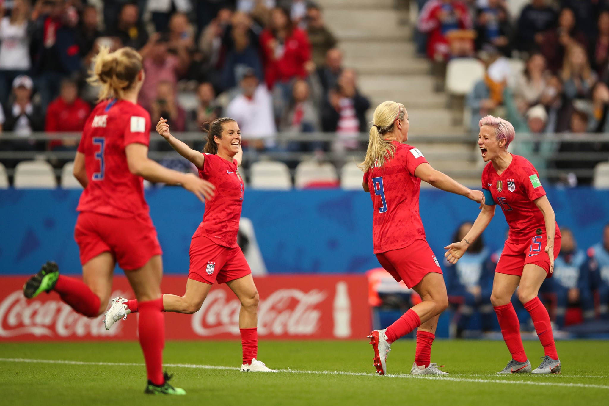 REIMS, FRANCE - JUNE 11: Lindsey Horan of USA celebrates after scoring a goal to make it 3-0 during the 2019 FIFA Women's World Cup France group F match between USA and Thailand at Stade Auguste Delaune on June 11, 2019 in Reims, France. (Photo by Molly Darlington - AMA/Getty Images)