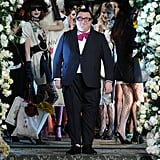 Alber Elbaz taking his bow in an adorable fuchsia bow!