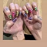 Dua Lipa's Mismatched Tartan Nail Art