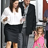 Ben Affleck, Seraphina Affleck, and Jennifer Garner stopped for breakfast together.
