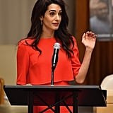Amal Clooney Red Dress September 2018