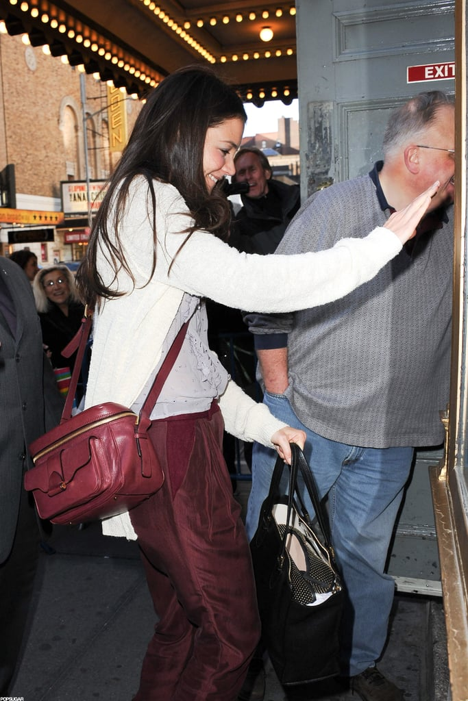 Katie Holmes headed into the theater.