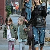 Sarah Jessica Parker took her twin daughters, Tabitha and Loretta, on a walk to school in NYC.