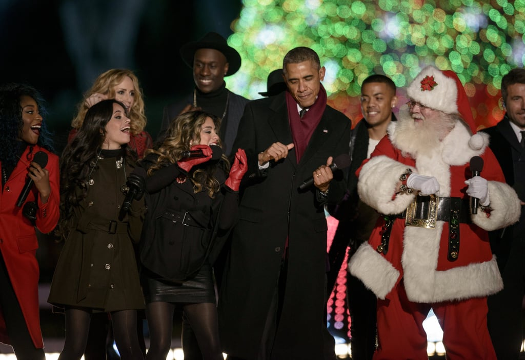 President Barack Obama showed off his dance moves alongside Santa Claus at  the national Christmas tree - National Christmas Tree Lighting Ceremony 2014 Pictures POPSUGAR