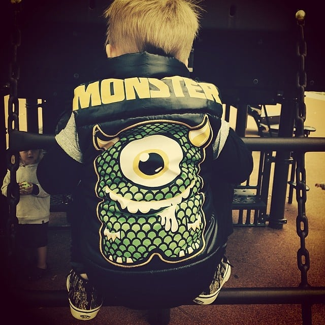 Luca Comrie displayed is inner monster on his back and in his actions, according to his mama, Hilary Duff. Source: Instagram user hilaryduff