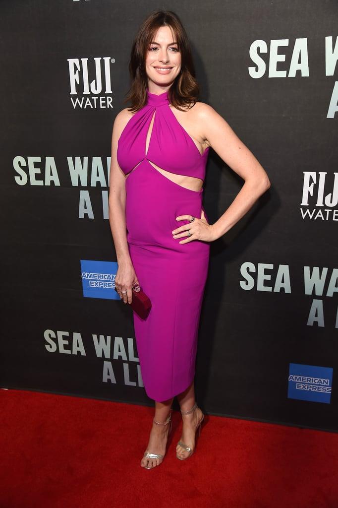 Anne Hathaway's Pink Brandon Maxwell Dress August 2019