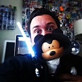 """Jedi Mickey (2of3) and I #vinylmation #disney #disneyland #starwars #Lucasfilm"" — evilos Source: Instagram user evilos"