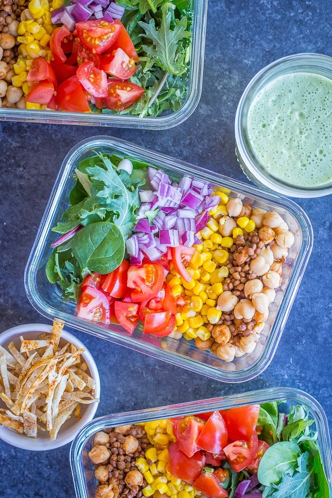 Chickpea And Lentil Taco Salad Meal Prep Bowls Best Healthy And Easy Taco Salad Bowl Recipes