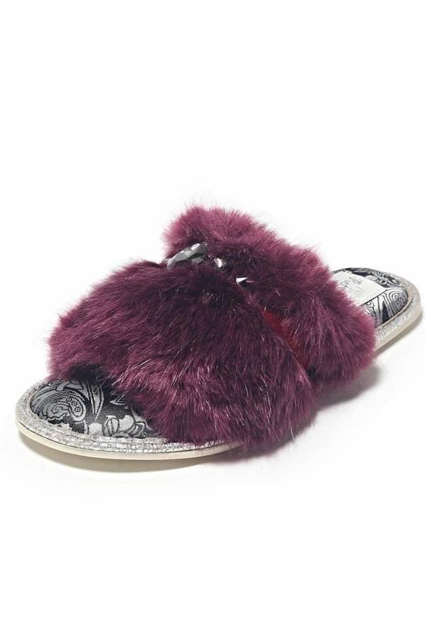 Pretty You London Fluffy Embellished Slipper ($44)