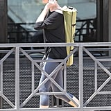 Charlize Theron headed in to take a yoga class in LA.