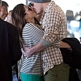 Channing Tatum and Jenna Dewan shared a sweet kiss while waiting for their car outside of LAX in February.