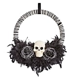 Halloween Skull and Feathers Wreath