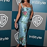 There may be no one else in the world who could pull off this dress like Miranda Kerr. The supermodel mom hit the Globes InStyle afterparty in a glittering, floral, sequined blue cocktail dress by Dolce & Gabbana.