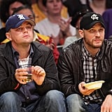 Good friends Leonardo DiCaprio and Tom Hardy took in an LA Lakers game at the Staples Center in February 2011.