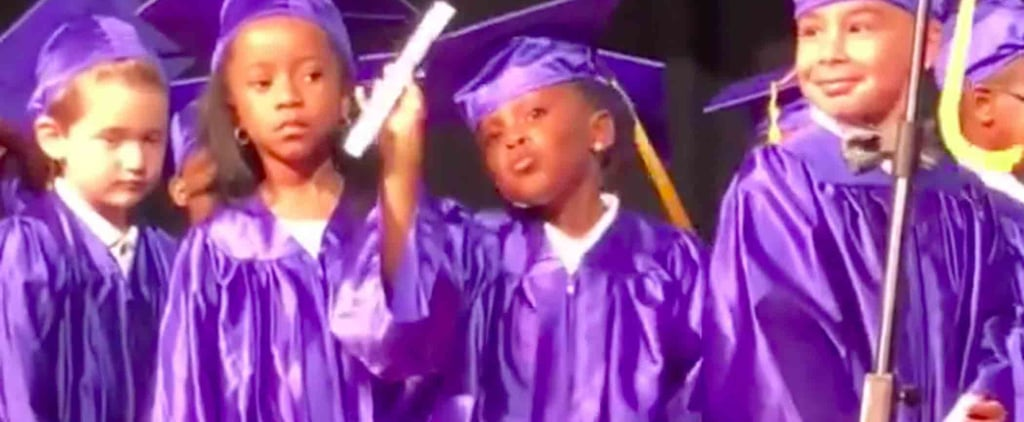 Girl Dances at Her Preschool Graduation Ceremony