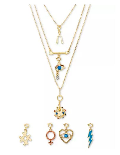 Gold-Tone 8-Pc. Gift Set Crystal & Stone Interchangeable Charm Layered Pendant Necklace, 14""