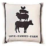 """""""Love Family Farm"""" Square Throw Pillow in Natural"""
