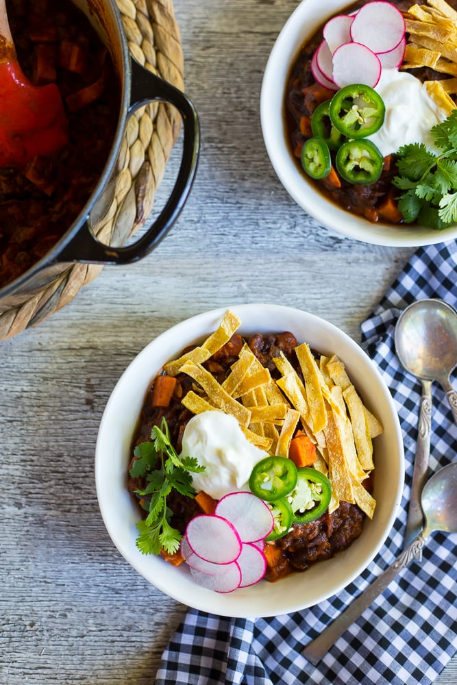 Spaghetti Squash, Sweet Potato, and Black Bean Chili