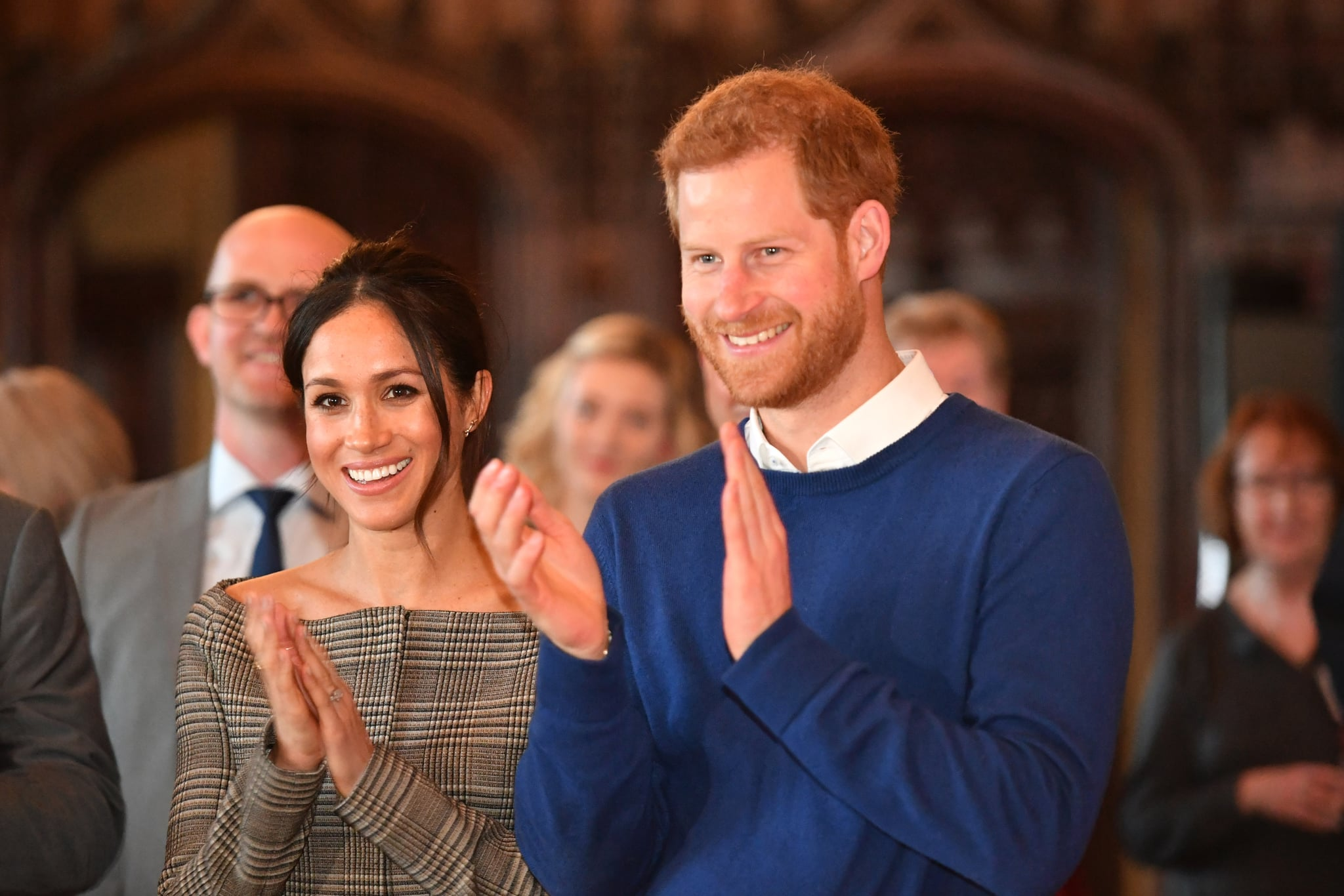 CARDIFF, WALES - JANUARY 18:  Prince Harry and his fiancee Meghan Markle watch a performace during their visit to Cardiff Castle on January 18, 2018 in Cardiff, Wales.  (Photo by Ben Birchall - WPA Pool/Getty Images)