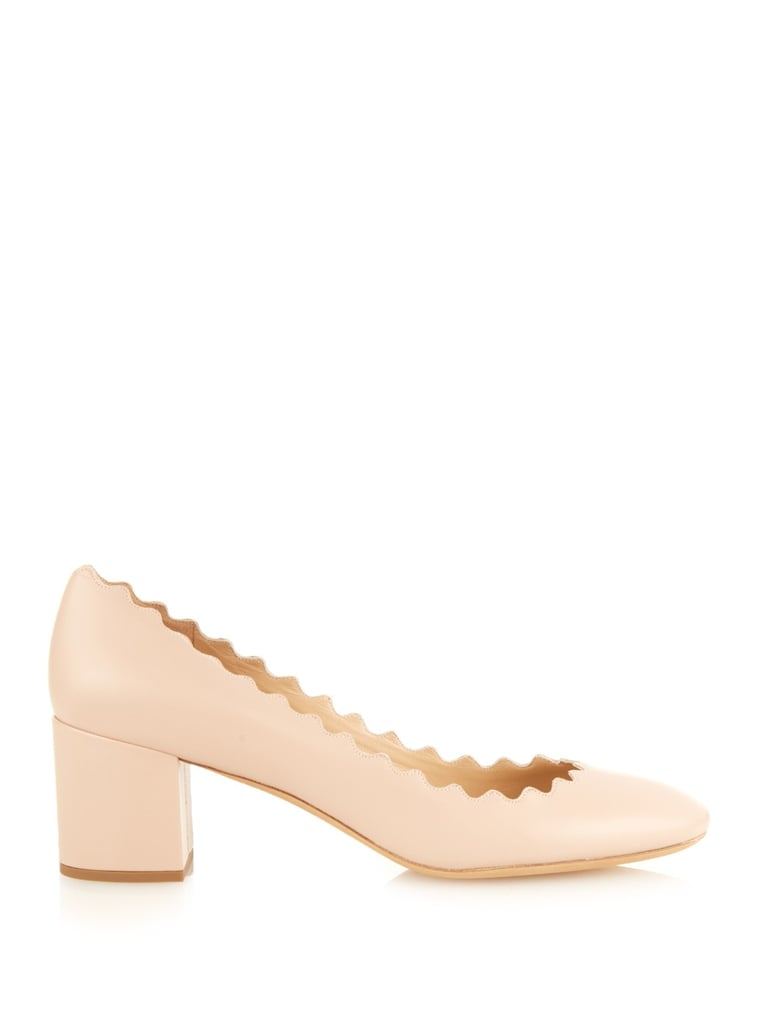 db42c341c66b3 Chloé Lauren Scalloped-Edge Block-Heel Leather Pumps ( 455)