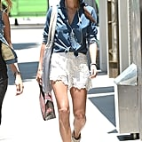 To make lace shorts cooler, just add a denim blouse like Jamie Chung did in LA.