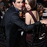 Emilia Clarke got cosy with Zac Posen inside the amfAR Gala in NYC in February.