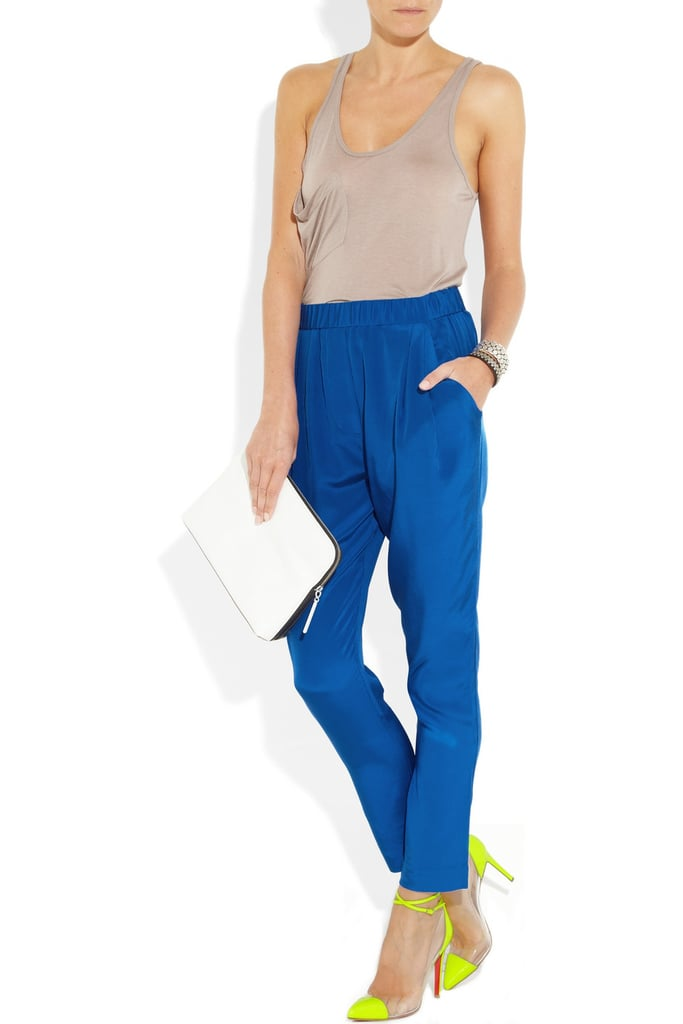 Silky trousers keep the silhouette laid back but the overall feel totally sophisticated. 3.1 Phillip Lim Silk Crepe de Chine Pants ($375)