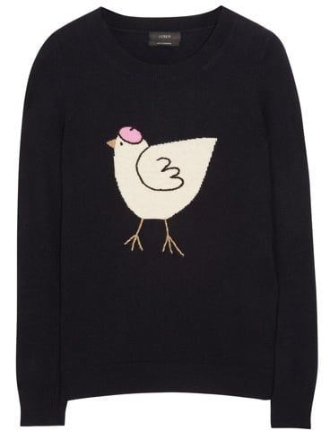 Chirp, chirp. I plan on pairing this J.Crew Hen Sweater ($95) with ladylike pencil skirts for a whimsical take on office dressing. — Chi Diem Chau, associate editor